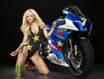 Suzuki GsxR 1000 and hot blonde beauty
