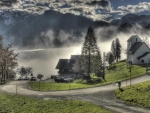 fog rising from a mountain lake hdr