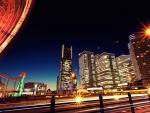 ferris wheel lights in yokohama japan