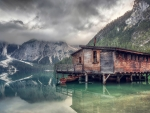 cabin on lake braies in south tyrol hdr