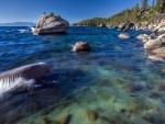 gentle waves on lake tahoe shore