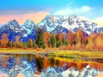 amazing mountains reflections hdr