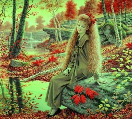 ~Lady in Autumn~ - autumn, love four seasons, creative pre-made, woman, ladies, leaves, fantasy, paintings, beautiful girls, people, weird things people wear, fall seasons