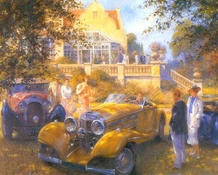 Guest Greetings - draw and paint, Bentley, love four seasons, yellow, cars, paintings, people, retro car, coalition
