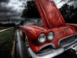 classic 61'  corvette in the rain hdr