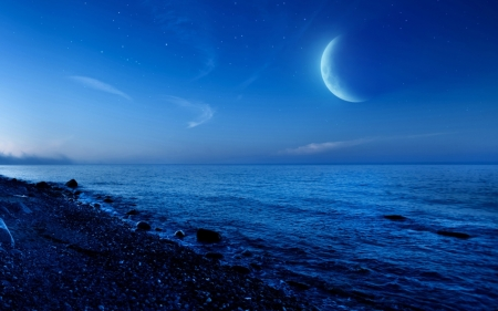 moon over gravel beach - stars, gravel, beach, sea, evening, moon