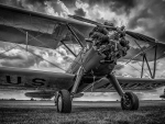 old military biplane in BW hdr