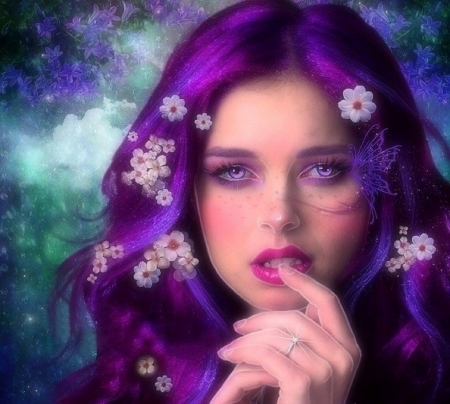 Sweet Purple - models, love four seasons, creative pre-made, digital art, purple, photomanipulation, emotional, weird things people wear, girls, butterfly designs