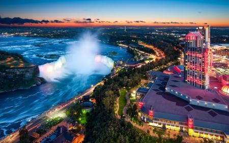 Panorama Of Niagara Falls Hdr Waterfalls Nature