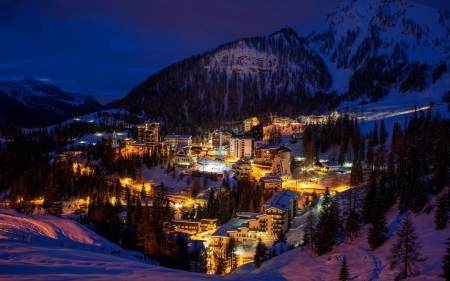 night over bergamo italy - resort, mountains, town, ski, lights, night, winter