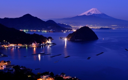 mt fuji at night - mountain, towns, volcano, harbor, night