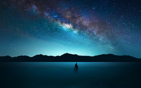solitary sailboat under stary night - stars, boat, sky, lake, night