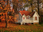 lovely cabin in autumn woods