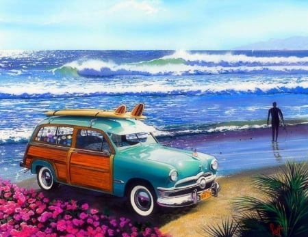 Summer Surf City - love four seasons, surf, attractions in dreams, creative pre-made, sky, sea, paintings, paradise, old car, beaches, summer, flowers, seaside, nature