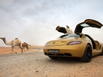 camel or mercedes benz sls amg in the desert