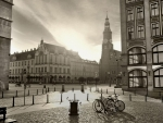 city square at sunrise in BW