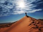 traveler atop a sand dune