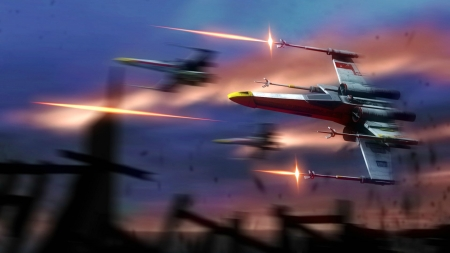 Star Wars X-Wing Fighters - movie, star wars, x wing, space