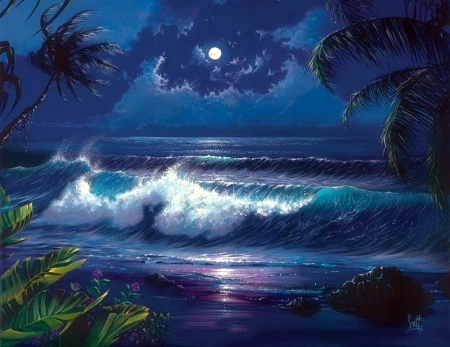 Romantic Moonlight - moons, love four seasons, attractions in dreams, creative pre-made, sky, palm trees, sea, paradise, beaches, summer, flowers, seaside, nature