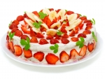 Strawberry cake with bananas