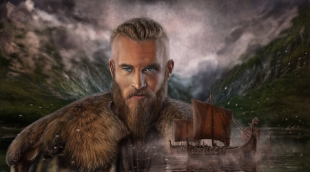 Portrait Of A Viking Fantasy Abstract Background