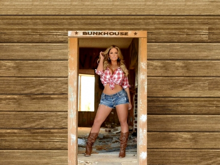 In The Bunkhouse - female, models, boots, ranch, fun, women, bunkhouse, cowgirls, girls, fashion, blondes, western, style