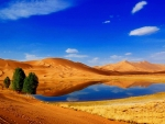 desert lake under blue sky
