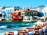 restaurant in a seaside greek town