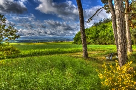 lovely overlook of fields in germany hdr - grass, bench, clouds, trees, hdr, overlook, fields