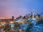 seattle panorama at night hdr