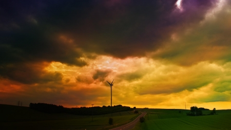 storm clouds over turbine windmill - countryside, windmill, storm, clouds