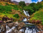 gorgeous falls in snowdonia park in wales hdr