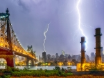 lightning storm in new york city hdr