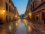 rain soaked street in dubrovnik croatia