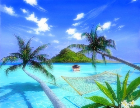 Furlough Holiday - love four seasons, attractions in dreams, creative pre-made, hammock, sky, clouds, palm trees, sea, paradise, beaches, summer, seaside, nature