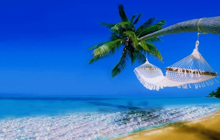 Tropical rest - topics, rest, vacation, exotic, beauitful, ocean, relax, hammock, sky, palms, sea, beach, paradise, summer, sands