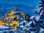 beautiful hillside village in winter hdr