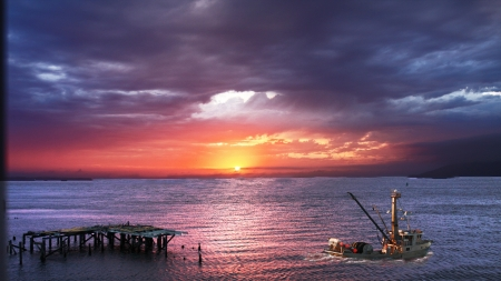 Commercial Fishing Boat At Sunset Hdr