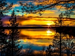 magnificent lake sunset