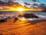 superb sunset at the beach hdr