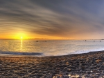 sunset on pebble beach hdr