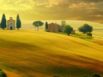 church in a tuscany field