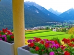 view of beautiful mountain village from balcony