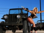 girl with jeep