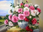 ✿⊱•╮Window of Peonies╭•⊰✿