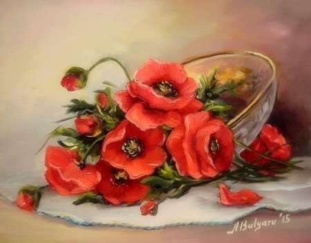 ✿⊱•╮Trinket with Poppies╭•⊰✿ - baskets, lovely still life, paintings, draw and paint, poppies, flowers, love four seasons