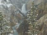 yellowstone waterfall in winter