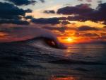 wonderful wave at sunset