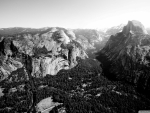 panorama of yellowstone glacier point in BW