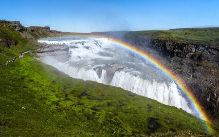 Rainbow Over Gullfoss Waterfall, Iceland - waterfall, nature, rainbow, iceland